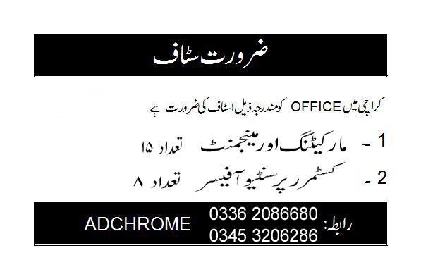 Apply Fresh Staff Part / Full Time Karachi   Sales / Marketing Jobs